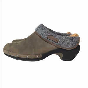 Merrell Brown Leather Luxe Knit Clogs 9.5